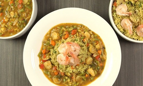 Shrimps with Curry and Rice